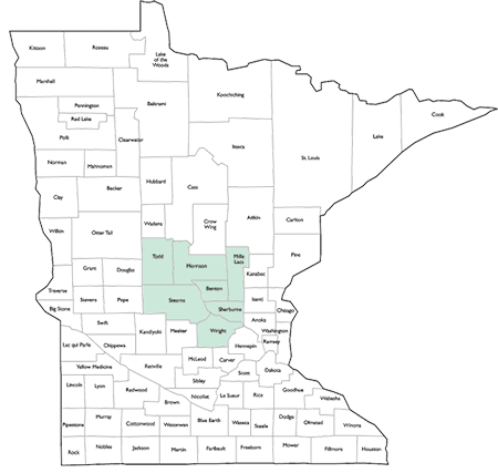 map of Minnesota with Benton Mille Lacs Morrison Sherburne Stearns Todd Wright counties highlighted